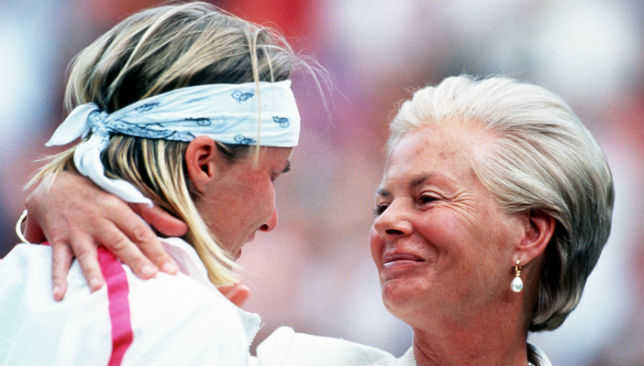 In tears: Jana Novotna is consoled by the Duchess of Kent