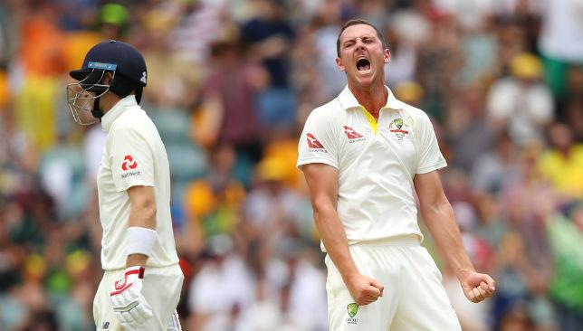 Emotions say it all Josh Hazlewood celebrates Joe Root's wicket