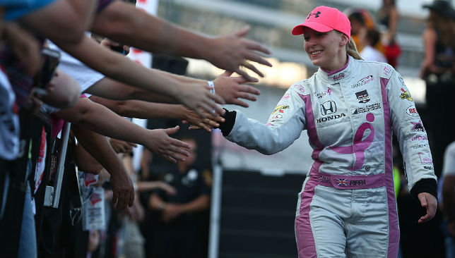 Greeting her fans: Pippa Mann