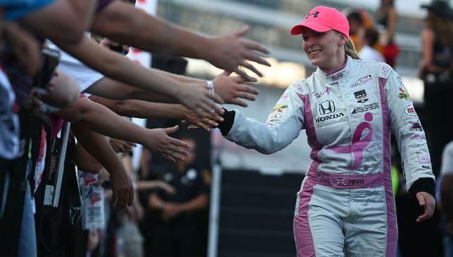 Greeting her fans: Pippa Mann