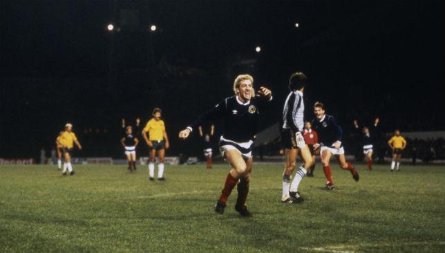 Get in boys: Scotland's Frank McAvennie celebrates a goal against Australia.