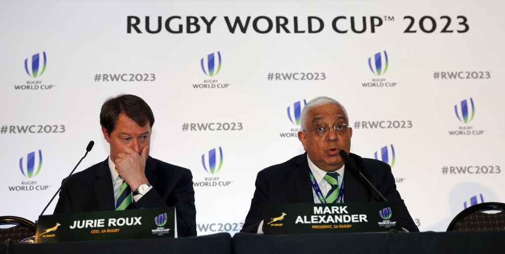 South Africa's bid team Chief Executive Jurie Roux (L) and Mark Alexander President of SA Rugby hold a press conference after France was named to host the 2023 Rugby World Cup in London on November 15, 2017. France won the right to stage the 2023 World Cup, it was announced today, despite finishing behind rival bidders South Africa in an evaluation report. / AFP PHOTO / ADRIAN DENNIS (Photo credit should read ADRIAN DENNIS/AFP/Getty Images)