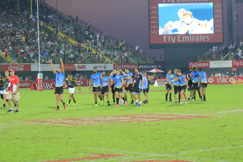 Speranza22 players celebrate a memorable International Invitational Cup triumph at the 2017 Dubai Sevens.