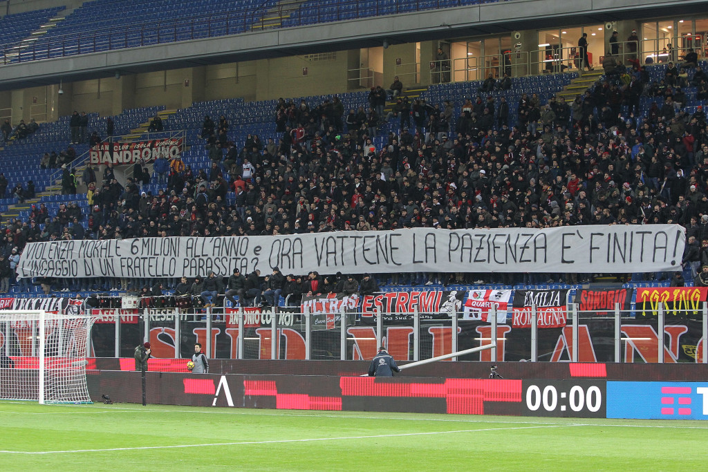 The Milan fans' banner against Donnarumma on Wednesday.