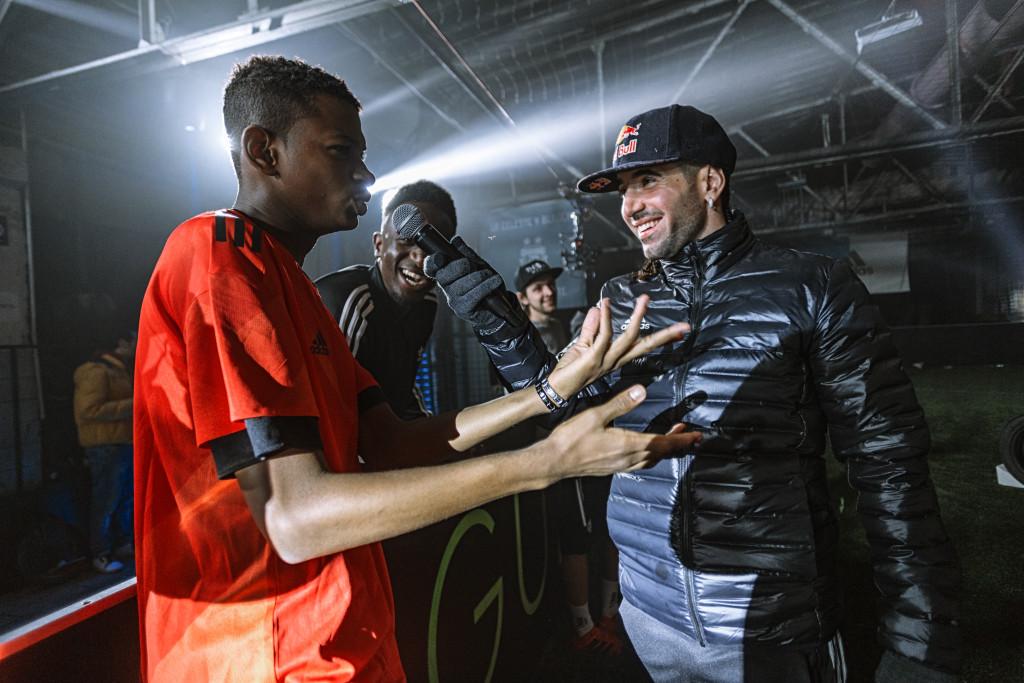 Yahya Ali speaking to football freestyler Sean Garnier