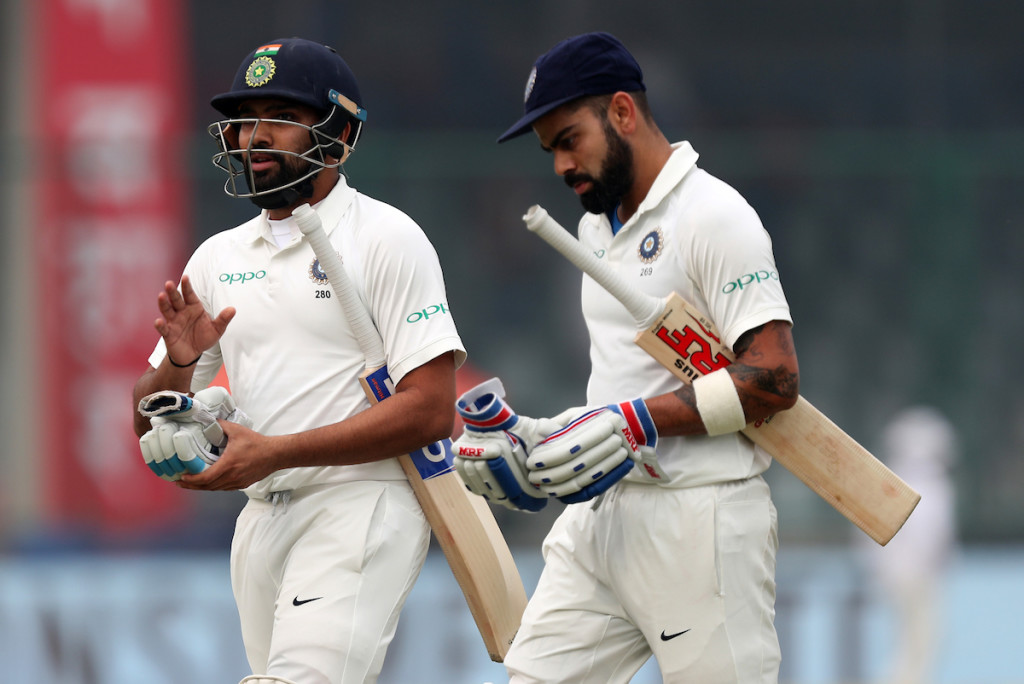 Virat Kohli and Rohit Sharma both hit fifties before India declared.