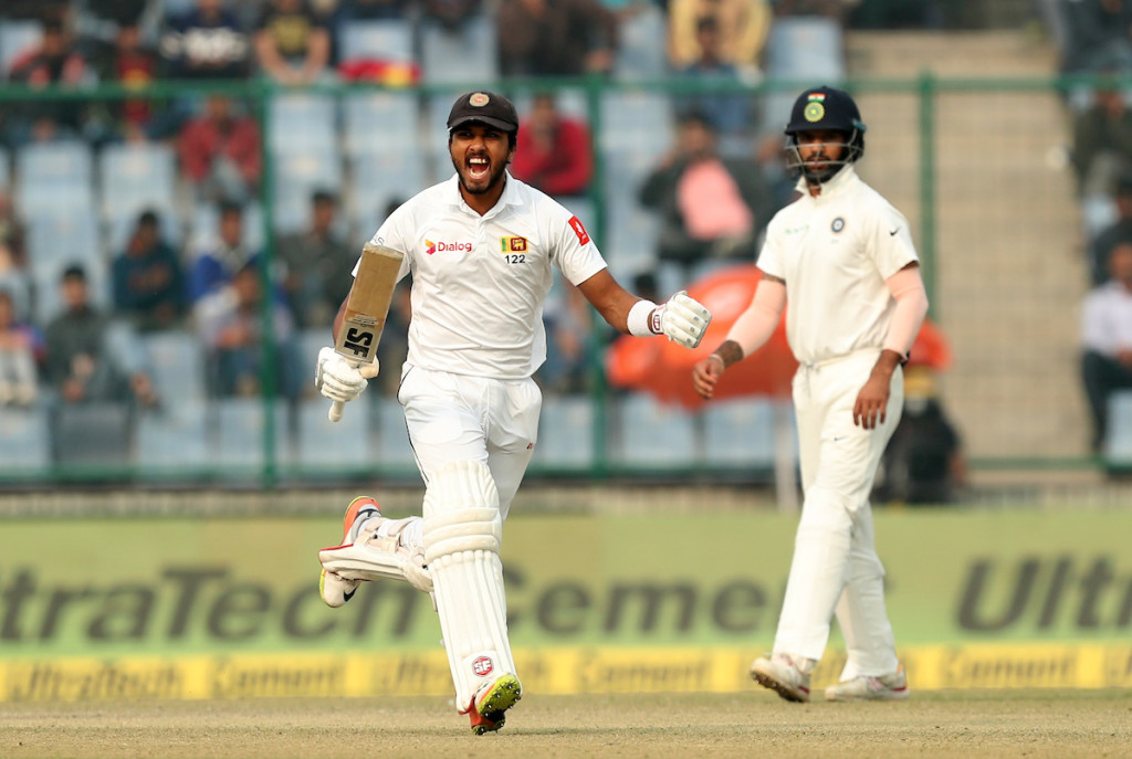Skipper Dinesh Chandimal brought up his 10th Test ton.