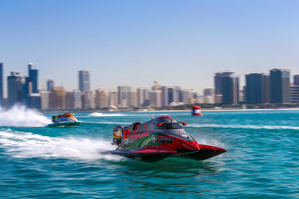 Alex Carella on the charge in Abu Dhabi.