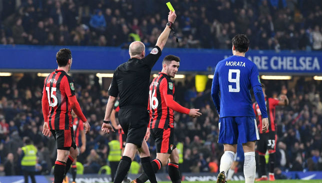 Alvaro Morata is shown a yellow card during Chelsea's game against Bournemouth.
