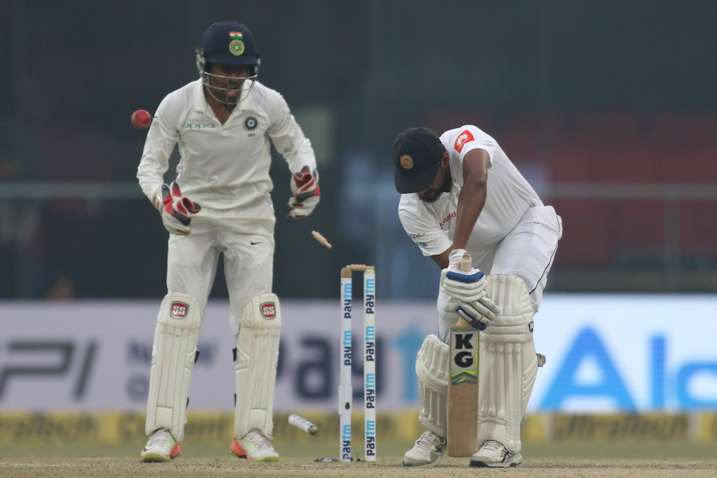 Lakmal was bowled off the fourth delivery of the over.