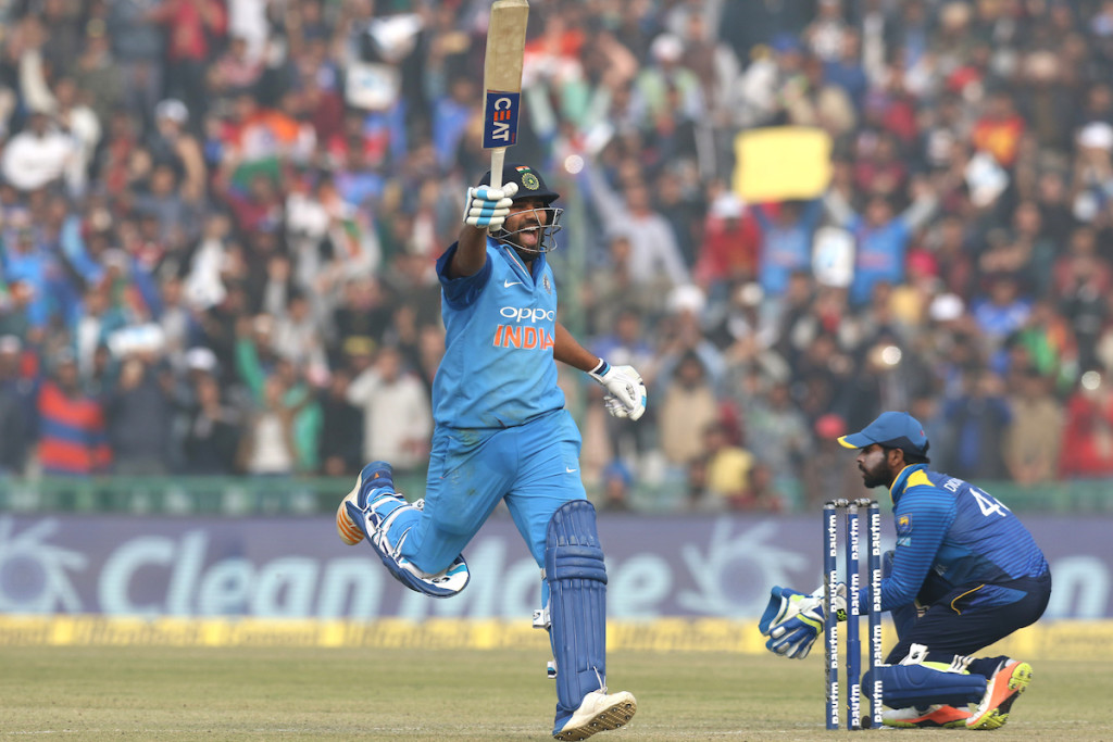Sharma exults as he completes his third double-ton in ODIs.