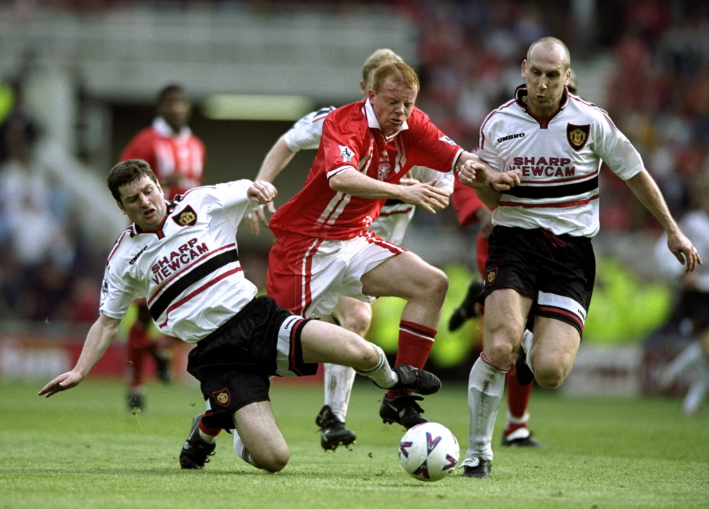 Jaap Stam and Dennis Irwin were part of an experienced United defence.