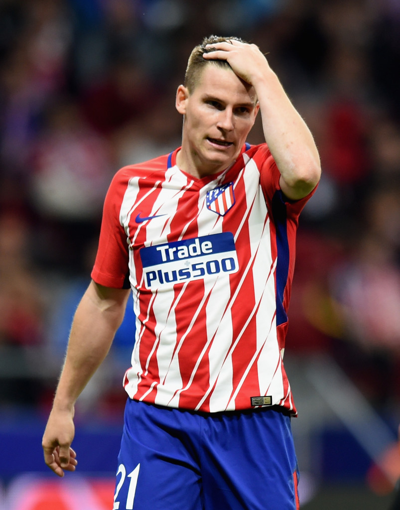 MADRID, SPAIN - OCTOBER 31: Kevin Gameiro of Atletico Madrid looks on during the UEFA Champions League group C match between Atletico Madrid and Qarabag FK at Estadio Wanda Metropolitano on October 31, 2017 in Madrid, Spain.  (Photo by Denis Doyle/Getty Images)