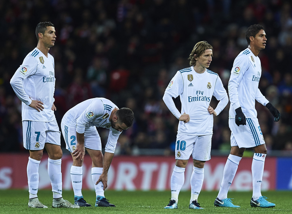 BILBAO, SPAIN - DECEMBER 02: (L-R) Cristiano Ronaldo of Real Madrid CF, Daniel Carvajal of Real Madrid CF, Luka Modric of Real Madrid CF and Raphael Varane of Real Madrid CF looks on during the La Liga match between Athletic Club and Real Madrid at Estadio de San Mames on December 2, 2017 in Bilbao, Spain. (Photo by Juan Manuel Serrano Arce/Getty Images)