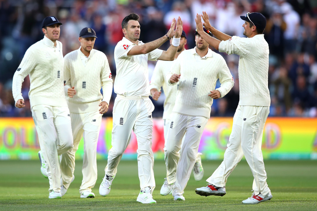 ADELAIDE, AUSTRALIA - DECEMBER 04:  James Anderson of England celebrates after taking the wicket of Cameron Bancroft of Australia during day three of the Second Test match during the 2017/18 Ashes Series between Australia and England at Adelaide Oval on December 4, 2017 in Adelaide, Australia.  (Photo by Cameron Spencer/Getty Images)