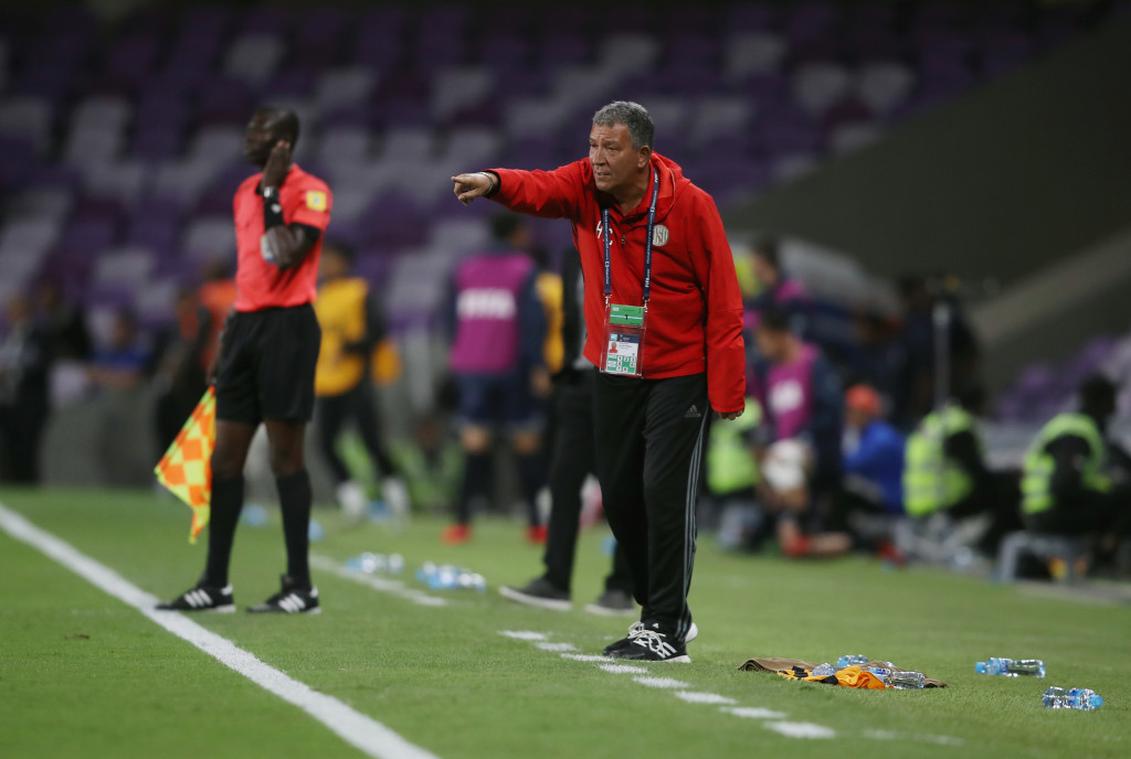 AL AIN, UNITED ARAB EMIRATES - DECEMBER 06: Henk Ten Cate of Al-Jazira gives his team instructions during the FIFA Club World Cup UAE 2017 play off match between Al Jazira and Auckland City FC at on December 6, 2017 in Al Ain, United Arab Emirates. (Photo by Francois Nel/Getty Images)