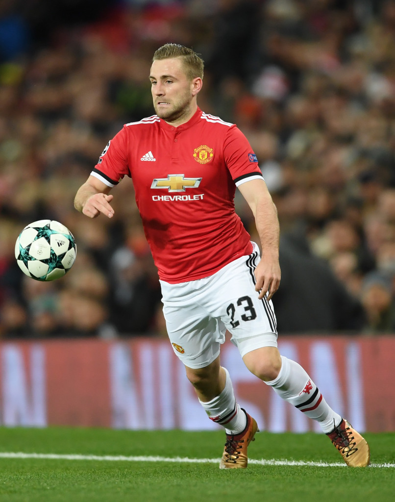 MANCHESTER, ENGLAND - DECEMBER 05: Luke Shaw of Manchester United runs with the ball during the UEFA Champions League group A match between Manchester United and CSKA Moskva at Old Trafford on December 05, 2017 in Manchester, United Kingdom. (Photo by Laurence Griffiths/Getty Images)