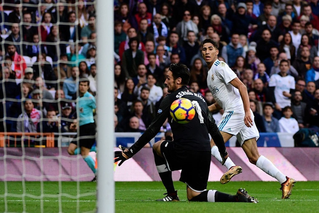 Achraf Hakimi neatly scores his first goal in a Real Madrid shirt