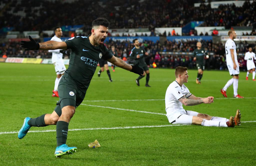 Sergio Aguero celebrates after scoring City's fourth