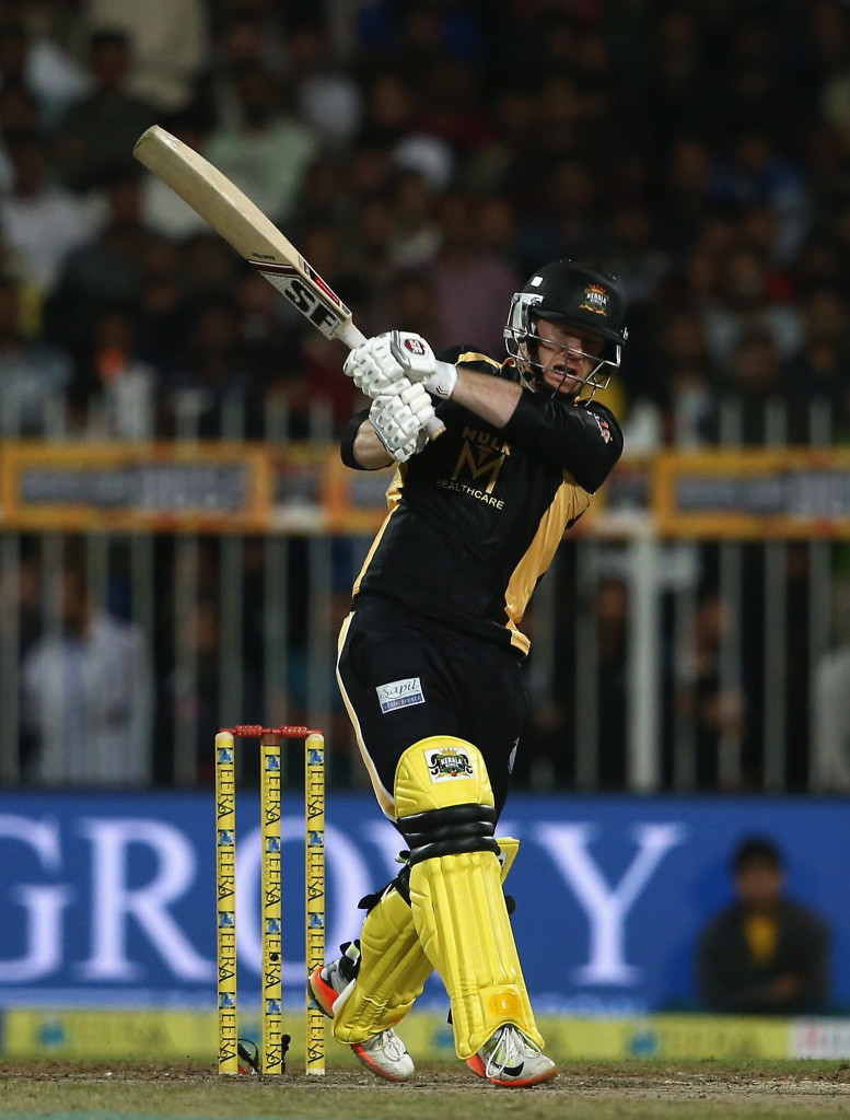 SHARJAH, UNITED ARAB EMIRATES - DECEMBER 17: Eoin Morgan of Kerela Kings bats during the T10 League Final match between Kerela Kings and Punjabi Legends at Sharjah Cricket Stadium on December 17, 2017 in Sharjah, United Arab Emirates. (Photo by Francois Nel/Getty Images)