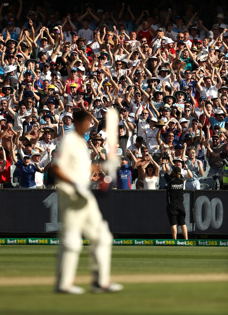 MELBOURNE, AUSTRALIA - DECEMBER 27: Alastair Cook of England celebrates after reaching his century during day two of the Fourth Test Match in the 2017/18 Ashes series between Australia and England at Melbourne Cricket Ground on December 27, 2017 in Melbourne, Australia. (Photo by Ryan Pierse/Getty Images)