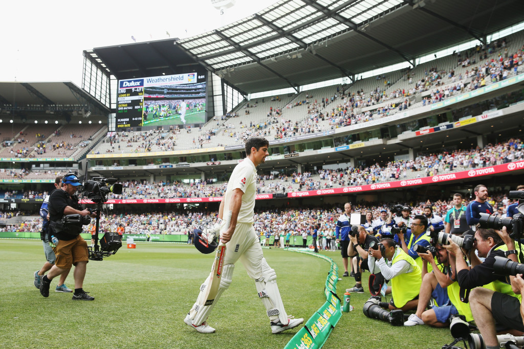 MELBOURNE, AUSTRALIA - DECEMBER 28: Alastair Cook of England walks off at the close of play after making 244 not out during day three of the Fourth Test Match in the 2017/18 Ashes series between Australia and England at Melbourne Cricket Ground on December 28, 2017 in Melbourne, Australia. (Photo by Michael Dodge/Getty Images)