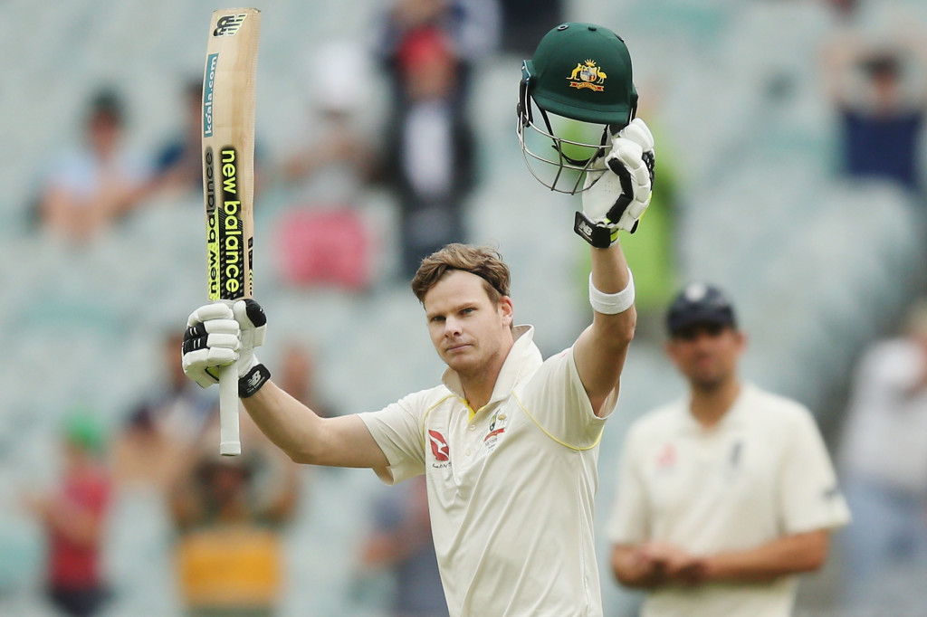 MELBOURNE, AUSTRALIA - DECEMBER 30: Steve Smith of Australia celebrates making his century during day one of the Fourth Test Match in the 2017/18 Ashes series between Australia and England at Melbourne Cricket Ground on December 30, 2017 in Melbourne, Australia. (Photo by Michael Dodge/Getty Images)