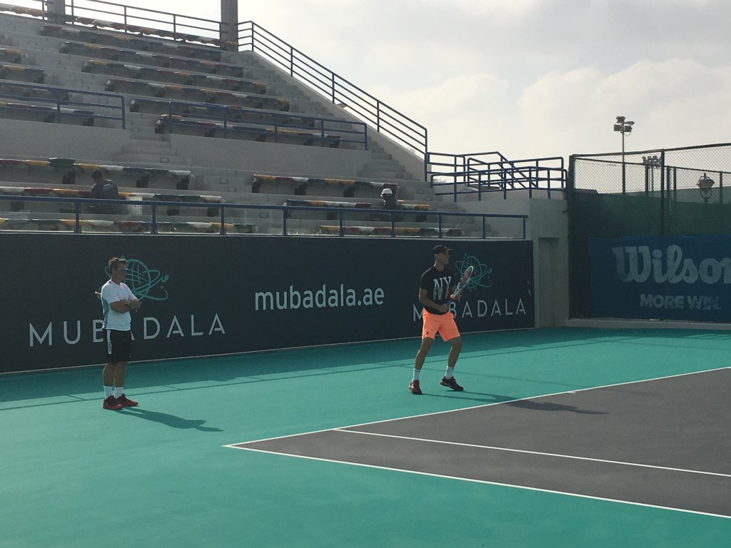 Thiem and Galo Blanco on court in Abu Dhabi.