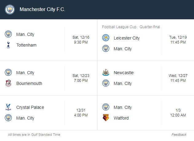 City's fixture schedule during the festive period