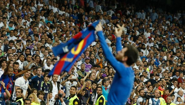 Messi's famed celebration at the Bernabeu from the 2016/17 season.