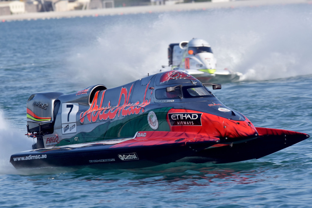 Rashed-Al-Qemzi of Team Abu Dhabi charges during practice.
