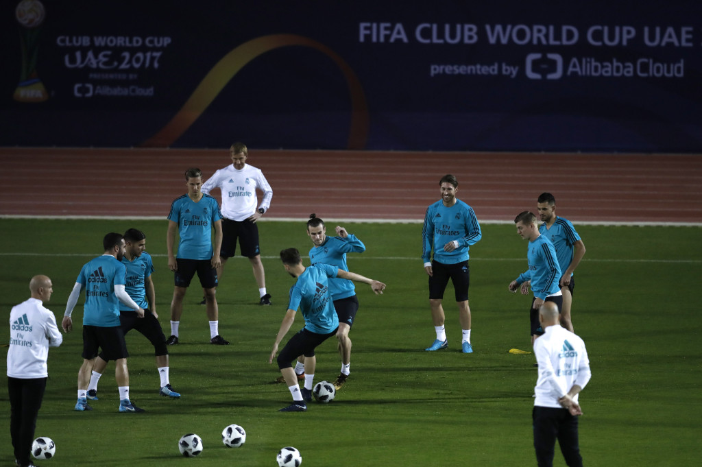 Real Madrid players train during a training session in Abu Dhabi, United Arab Emirates, Thursday, Dec. 14, 2017. Real Madrid will play against Gremio on Saturday in the Club World Cup final soccer match. (AP Photo/Hassan Ammar)