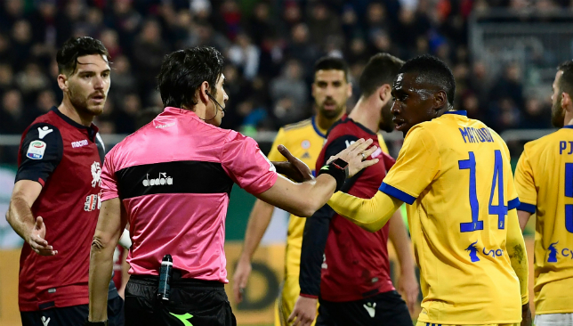 Matuidi was subject to racist chanting at Cagliari on Saturday.
