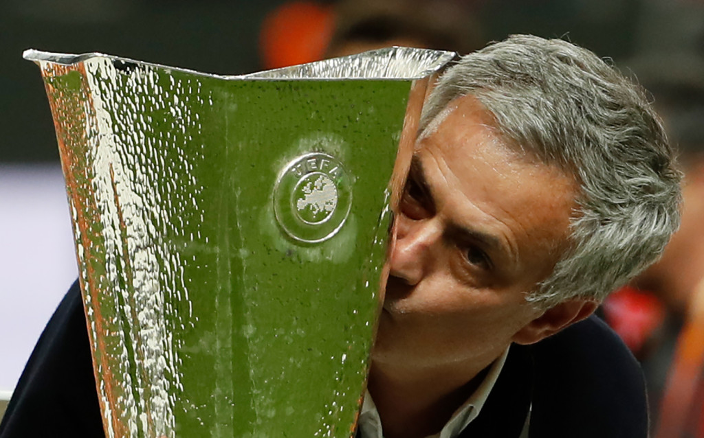 Mourinho with the Europa League trophy in May 2017.