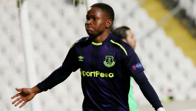 Ademola Lookman celebrates scoring a goal.