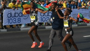 Tamirat Tola and Worknesh Degefa, winners of the 2017 Standard Chartered Dubai Marathon