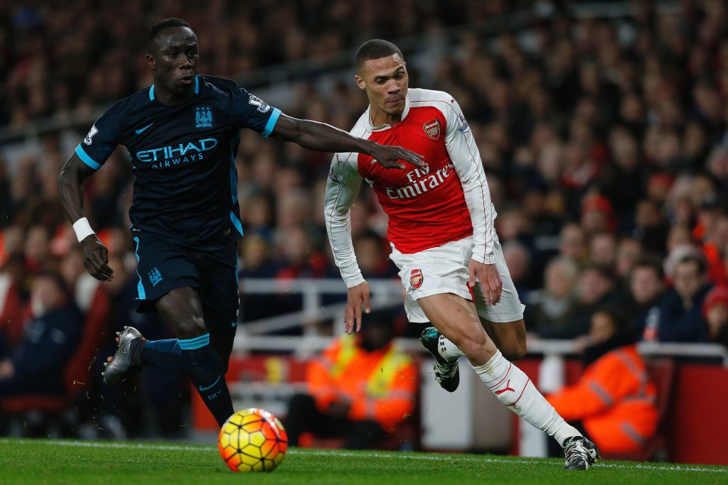 Bacary Sagna in action for Manchester City against Arsenal