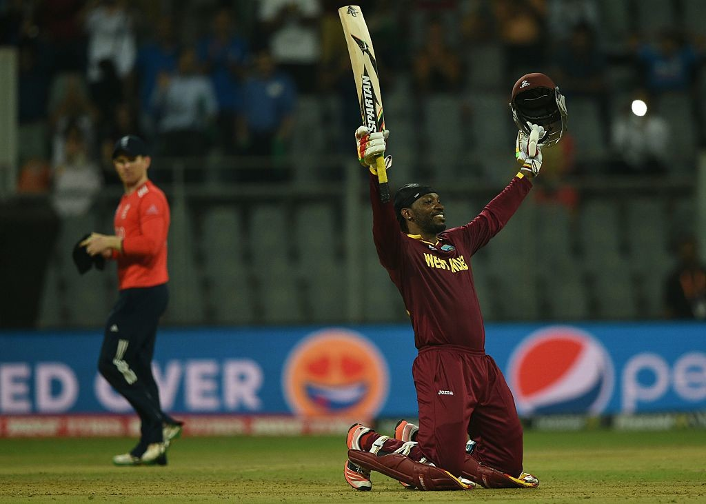 Gayle's second T20I ton came in a World T20 clash against England.