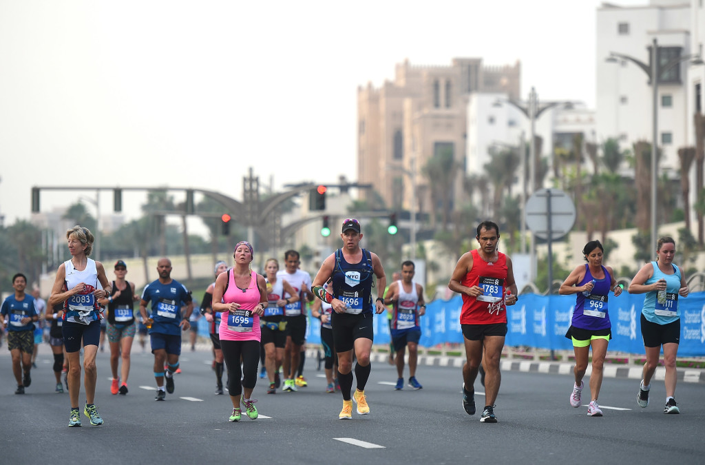 DUBAI, UNITED ARAB EMIRATES - JANUARY 20: Runners participate in the Standard Chartered Dubai Marathon 2017 on January 20, 2017 in Dubai, United Arab Emirates. (Photo by Tom Dulat/Getty Images)