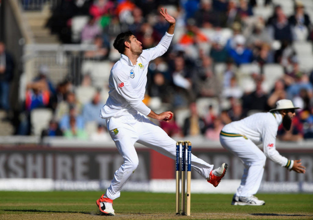 MANCHESTER, ENGLAND - AUGUST 04: South Africa bowler Duanne Olivier in action during day one of the 4th Investec Test match between England and South Africa at Old Trafford on August 4, 2017 in Manchester, England. (Photo by Stu Forster/Getty Images)