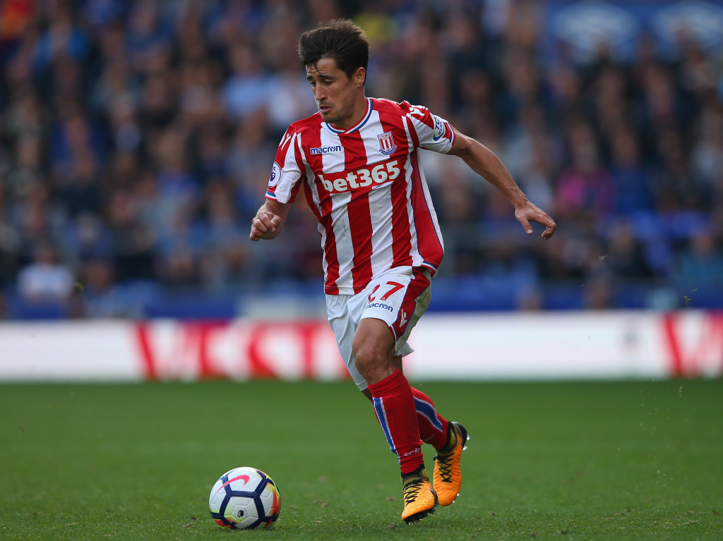 LIVERPOOL, ENGLAND - AUGUST 12: Bojan Krkic of Stoke City during the Premier League match between Everton and Stoke City at Goodison Park on August 12, 2017 in Liverpool, England. (Photo by Alex Livesey/Getty Images)