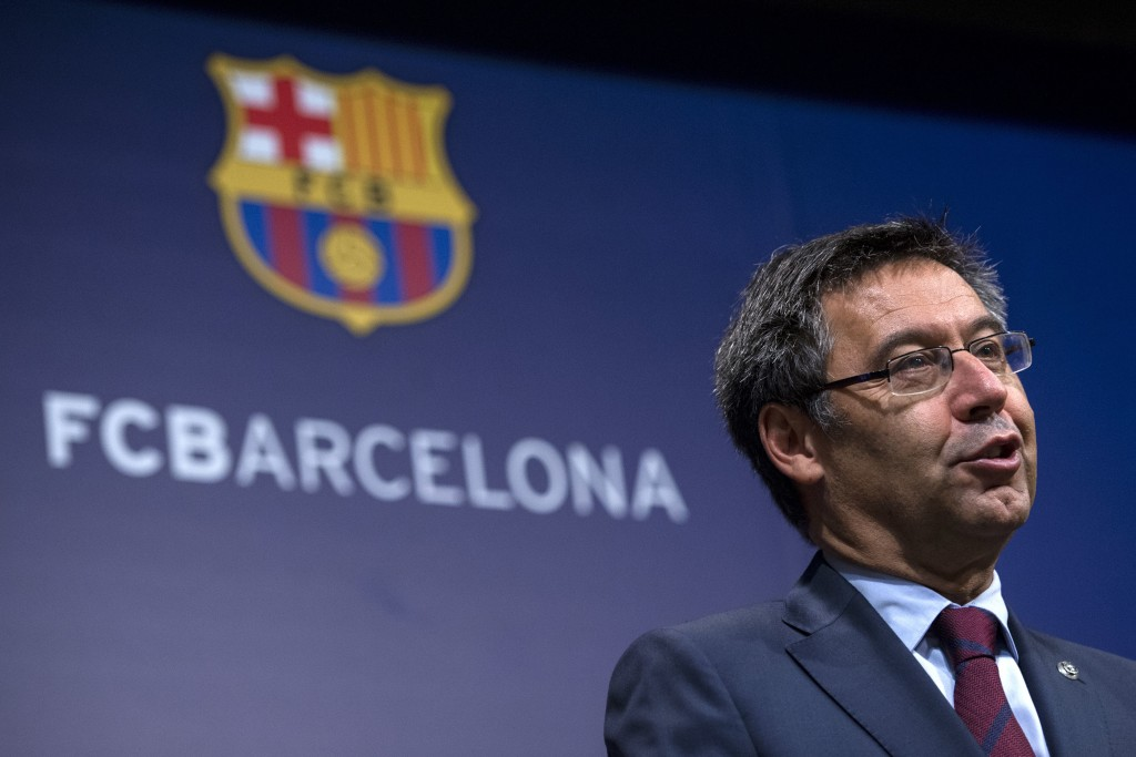 Job well done: Barcelona president Josep Maria Bartomeu