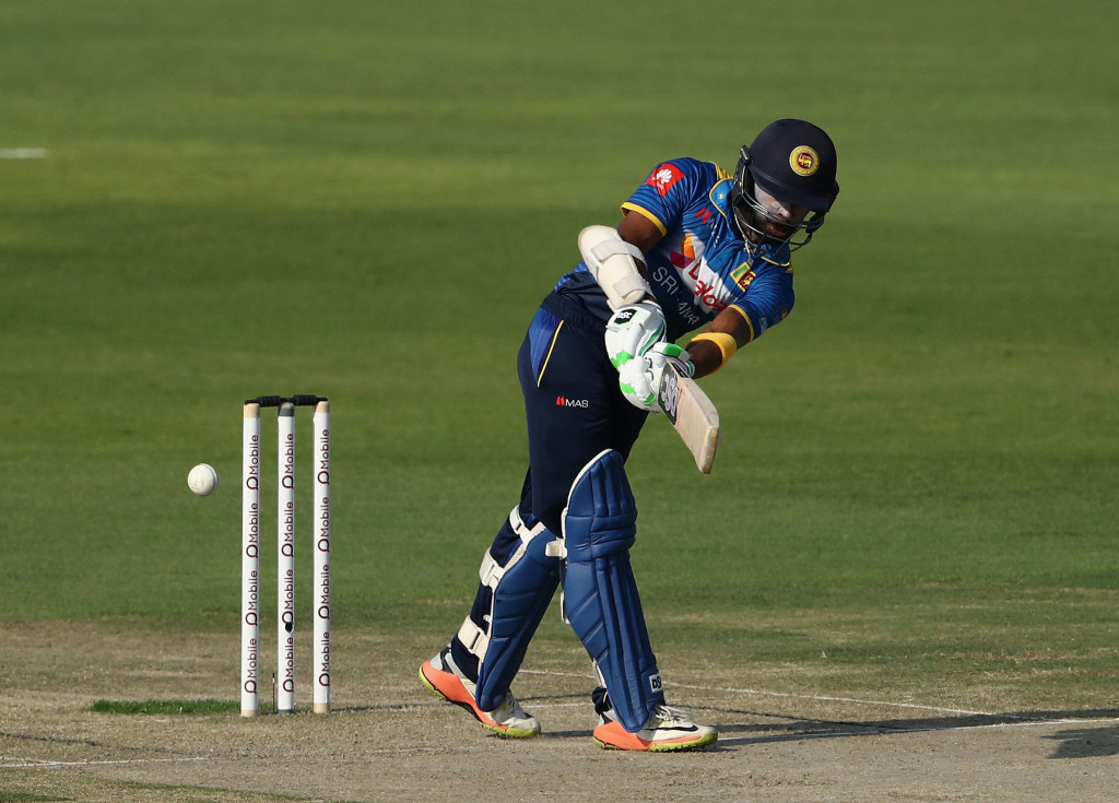 ABU DHABI, UNITED ARAB EMIRATES - OCTOBER 18: Niroshan Dickwella of Sri Lanka bats during the third One Day International match between Pakistan and Sri Lanka at Zayed Cricket Stadium on October 18, 2017 in Abu Dhabi, United Arab Emirates. (Photo by Francois Nel/Getty Images)