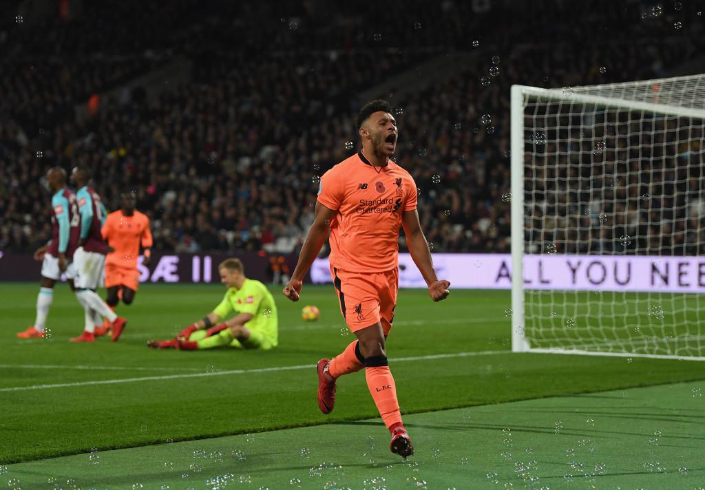 Alex Oxlade-Chamberlain celebrates scoring for Liverpool