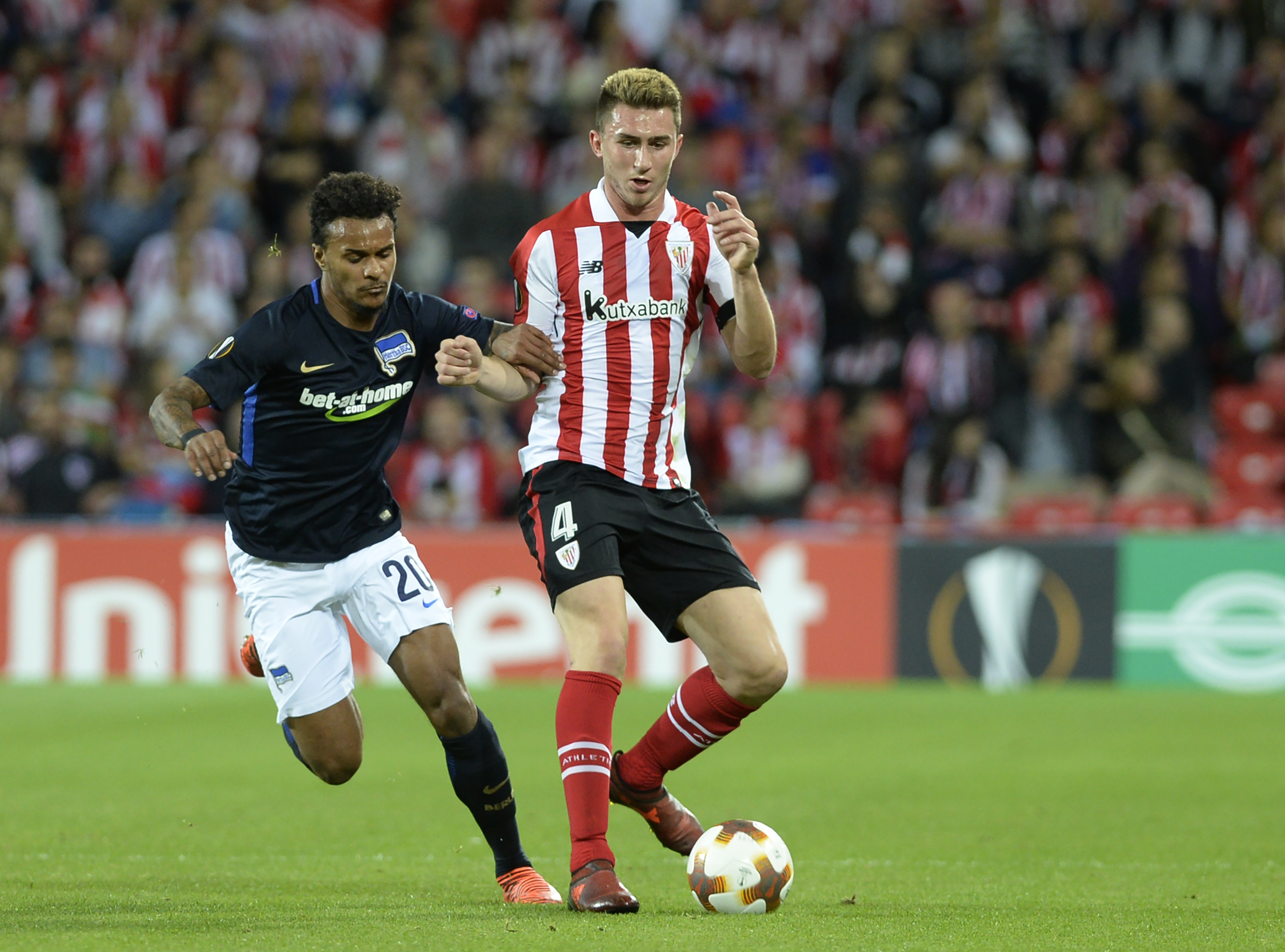 Aymeric Laporte (r) in action for Athletic Bilbao.