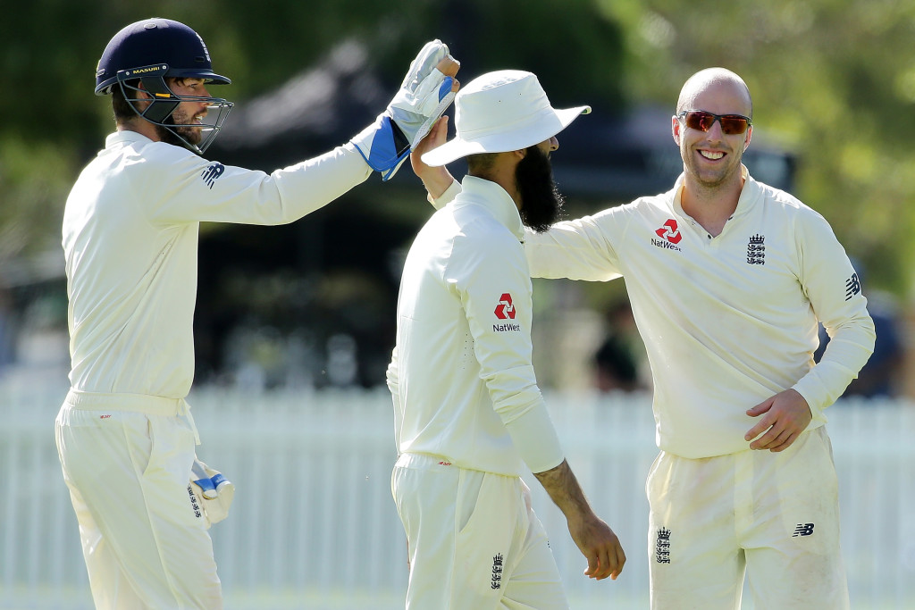 PERTH, AUSTRALIA - DECEMBER 10: Jack Leach of England celebrates after taking the wicket of Will Bosisto of the Cricket Australia CA XI during the Two Day tour match between the Cricket Australia CA XI and England at Richardson Park on December 10, 2017 in Perth, Australia. (Photo by Will Russell/Getty Images)