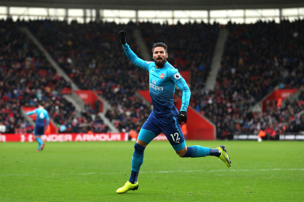 Olivier Giroud celebrates scoring for Arsenal