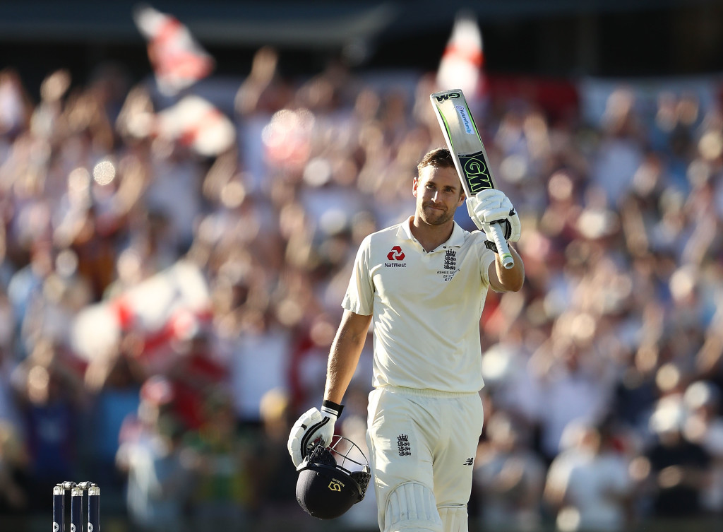 PERTH, AUSTRALIA - DECEMBER 14: Dawid Malan of England celebrates after reaching his century during day one of the Third Test match of the 2017/18 Ashes Series between Australia and England at WACA on December 14, 2017 in Perth, Australia. (Photo by Ryan Pierse/Getty Images)