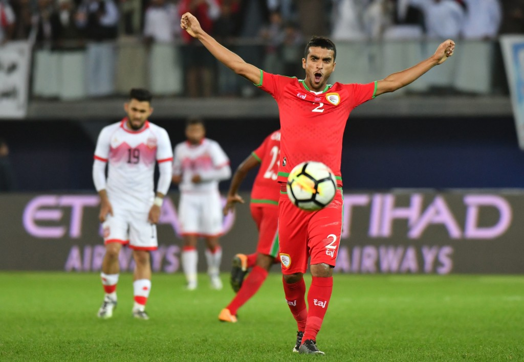 Oman's Mohammed al-Maslami celebrates after winning the 2017 Gulf Cup semi-final.