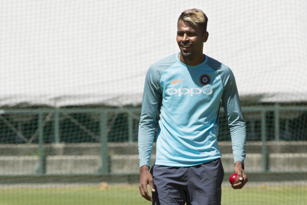 India's bowler, Hardik Pandya looks on as he takes part in training session at the Newlands Cricket ground on January 3, 2018, in Cape Town, prior to the first of three cicket tests matches between South Africa and India. / AFP PHOTO / RODGER BOSCH (Photo credit should read RODGER BOSCH/AFP/Getty Images)